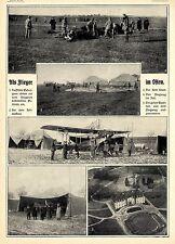Als Flieger im Osten * Gefangene beim Flugplatzbau * Flugzeug im Zelt Bildd.1915