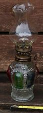 Miniature Oil Lamp Hand Painted Glass with Gem Lotus Chimney.