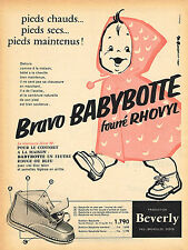 PUBLICITE ADVERTISING 025  1958  BEVERLY  les bottines bébé BABYBOTTE fourrées