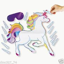 Girls Birthday PAPER Party Game PIN THE HORN ON THE UNICORN Pony for 12 guests