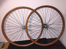 1890 1900 Peugeot wheel set wood rim oiling hole Peugeot hubs roues de velo bois