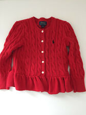 Ralph Lauren Girls Red Knitted Cardigan Jacket Kids Size 3/3T 3 yrs FREE UK P&P