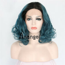 Green Blue Bob Lace Front Wig Heat Synthetic Curly Hair Black Roots Full Wigs