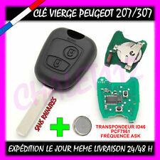 Clé avec électronique vierge à programmer PEUGEOT 207 307 sans rainure