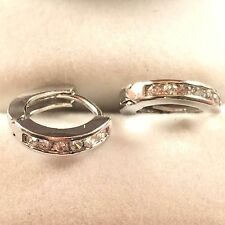 18CT White gold Filled CZ Sapphire  Earrings Hoop