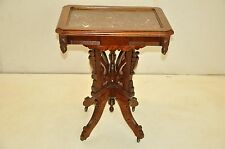 Beautiful Victorian East Lake Walnut Marble Top Carved Side End Table on Casters