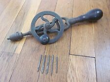 RARE Antique MILLERS FALLS No 1 Hand Drill pre 2 Old Woodworking Tool Point Bits