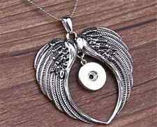 DIY 1pcs Angel Wings Alloy Pendant With Necklace Fit Snap Chunk Button Charm  //