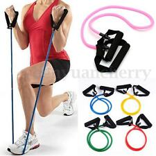 Exercise Latex Resistance Bands Pilates Tube Workout Gym Yoga Fitness Stretch US