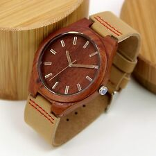 Mens Natural Red Sandalwood Wood Watch with Bamboo Box Father's Day Gift