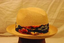 Blonde Stetson Straw Hat with Navy Blue Floral Print Band -- 7