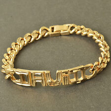 New 14K Solid Gold Filled Curb Cuban Link Fashion Mens Chain Letters Bracelet