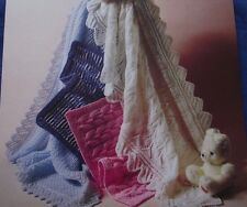 VINTAGE 2 BLANKETS/SHAWLS & 2 PRAM COVERS KNITTING PATTERN IN DK & 4-PLY
