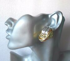 Lovely Silver and Gold Clip-on Earrings - Chunky
