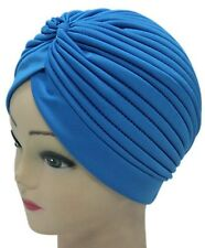 Admiring Unisex Indian Style Stretchable Turban Hat Hair Head Wrap Cap Lake Blue