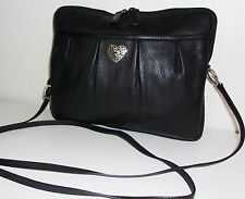 Brighton Small & Slim Black Pebble Soft Leather Crossbody Purse Handbag Bag
