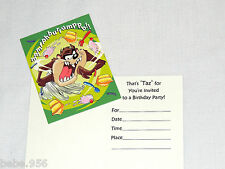 NEW  LOONEY TUNES TAZ  8-INVITATIONS W/ENVELOPES PARTY SUPPLIES