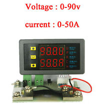 90V 50A DC digital voltmeter Ammeter power meter Batterie Kapazität time 12v 24V