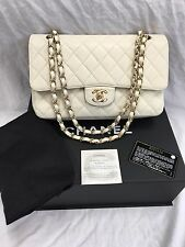 "AUTHENTIC CHANEL 10 "" 2,55 AVORIO caviale in Pelle Doppio Flap SHOULDER BAG GHW"
