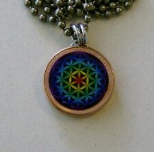 "Lucky Penny Pendant Sacred Geometry FLOWER OF LIFE Charm 24"" Necklace #2"