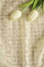 Ivory Heart Lace Fabric Floral Cotton Embroidered Tulle Fabric Wedding Dress