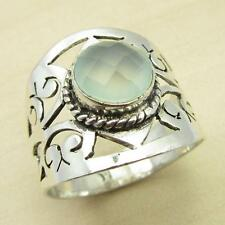 BROTHER'S Ring, GREEN SEA CHALCEDONY Silver Plated Jewelry Size US 8 1/2 NEW