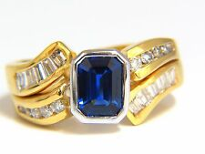 $5500 2.44ct NATURAL BLUE SAPPHIRE DIAMONDS RING 14KT ROYAL BLUE TRADITIONAL
