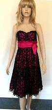 Gina Bacconi Size 10 Cerise Dress with Overlaid Black Crocheted Design BNWT
