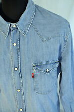 Vintage Levis blue western pearl poppers shirt size large trucker cowboy
