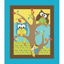 NEW 100% cotton flannel fabric 'Bright Owl' appliqued baby quilt top panel