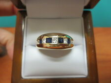 14k Yellow Gold Diamond and Sapphire Men's Engagement Ring