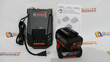 New Two (2) Bosch BAT620 18V Li-Ion Battery 4.0Ah & One Bosch BC630 Charger 110V