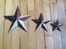 "(SET OF 3) AMERICANA FLAG BARN STARS 8"" 5"" 3"" PRIMITIVE PATRIOTIC RUSTIC DECOR"