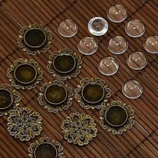10set Domed Magnifying Glass Cabochon Flower DIY Photo Brass Cabochon Making