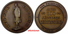 GERMANY Bronze 1887 Medal LUDWIG UHLAND (1787-1862) 100 Anniversary UNC (10169)