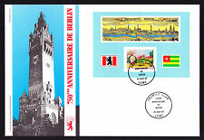 Togo 1987 First Day Cover 750th Anniversary of Berlin cachet & stamp sheet FDC