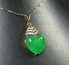 Gold Plate Green JADE Pendant Love Heart Necklace Diamond (Imitation) 277215