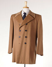 NWT $4195 D'AVENZA Camel Tan 100% Cashmere Outer Coat 44 R Double-Breasted Eu54