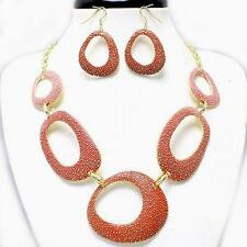 Orange Coral Gold Necklace Earrings Hombre Metal Art Jewelry Set