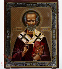 "Wooden Icon of Saint Nicholas Икона Святой Николай Чудотворец 5.1"" x 6.2"""
