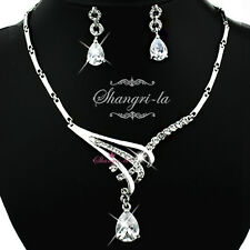 18K WHITE GOLD GP PEAR SWAROVSKI CRYSTAL Wedding NECKLACE EARRINGS SET 41363 NEW