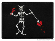 BLACKBEARD PIRATE FLAG iron-on PATCH JOLLY ROGER EDWARD TEACH embroidered MORALE