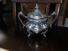 Antique Reed & Barton Silverplate Footed Sugar Bowl w/ Lid Silver Floral 3632
