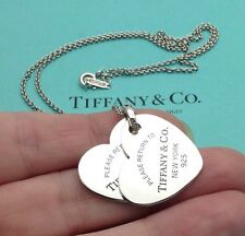 Tiffany & Co. Plata Esterlina volver a Tiffany Grande Doble Collar Corazón 18""