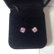 STUNNING STERLING SILVER R/P 7mm PINK CZ STUD EARINGS