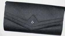 "Black 9"" Satin Evening Clutch Shoulder Bag Purse w Four Rhinestones & Mirror"
