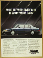1992 Saab 900 blue car photo vintage print Ad