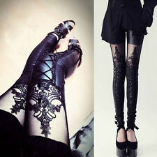 Women Fashion Faux Leather Gothic Punk Leggings Pants Lace Skinny Trousers Sexy