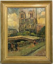 FRENCH IMPRESSIONIST PAINTING Street Scene NOTRE DAME PARIS signed LEGRAND
