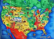 "35"" COTTON FABRIC PANEL UNITED STATES US MAP TEACHER SCHOOL  50 STATES  CAPITALS"